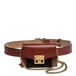 Givenchy Brown/Black Leather and Suede GV3 Belt Bag