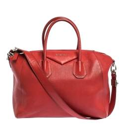 Givenchy Red Leather Medium Antigona Satchel