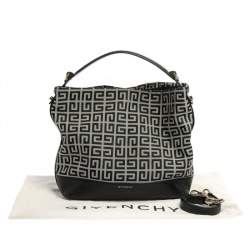 Givenchy Black/Grey Monogram Canvas and Leather Hobo