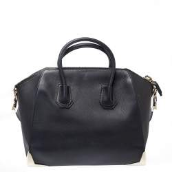 Givenchy Black Leather Medium Antigona Metal Detail Satchel