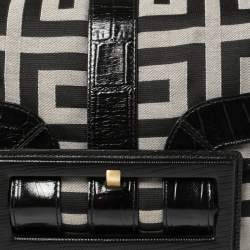 Givenchy Black Monogram Canvas and Embossed Leather Buckle Flap Top Handle Bag