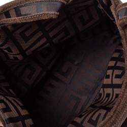 Givenchy Dark Brown Corduroy Monogram Logo Tote