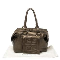 Givenchy Metallic Soft Leather Logo Embossed Braided Handle Satchel