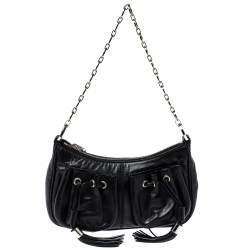 Givenchy Black Leather Tassel Pocket Chain Baguette Bag