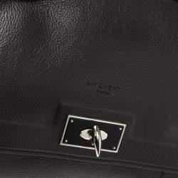 Givenchy Dark Choco Leather Shark Tooth Top Handle Bag