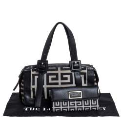 Givenchy Black/Grey Monogram Canvas and Leather Satchel