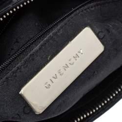Givenchy Black Leather Logo Metal Baguette Shoulder Bag