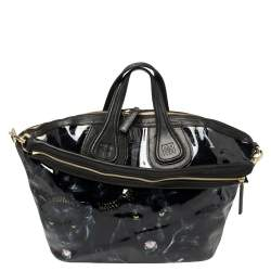Givenchy Black Panther Print Patent and Leather Medium Nightingale Satchel
