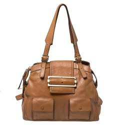 Givenchy Brown Leather Buckle Flap Satchel