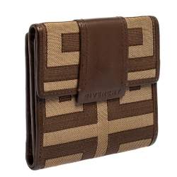 Givenchy Brown Signature Canvas and Leather Trim Compact Wallet