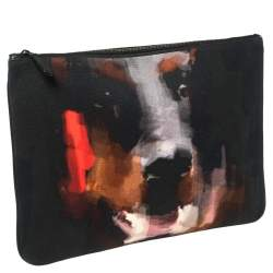 Givenchy Black Canvas and Leather Rottweiler Face Clutch