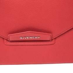 Givenchy Red Leather Medium Antigona Envelope Clutch