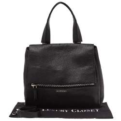 Givenchy Black Leather Medium Pandora Pure Flap Top Handle Bag