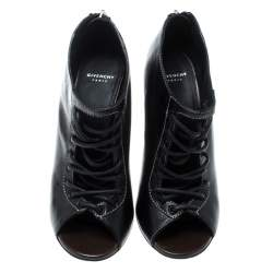Givenchy Black Leather Nissa Screw Heel Open Toe Lace Up Booties Size 36