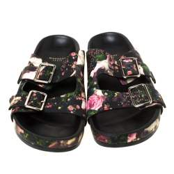 Givenchy Multicolor Floral Print Leather Double Buckle Banded Flat Slides Size 38