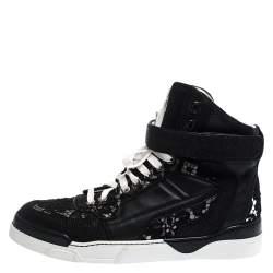 حذاء رياضي جيفنشي مرتفع من أعلى Tyson دانتيل زهور وجلد سوداء مقاس 39