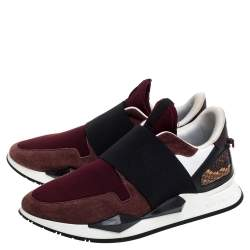 Givenchy Burgundy/Black Suede, Leather And Stretch Fabric Active Low Top Sneaker Size 38