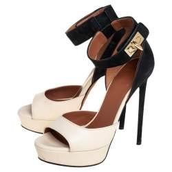 Givenchy Beige/Black Leather And Nubuck Leather Shark Lock Platform Ankle Cuff Sandals Size 36