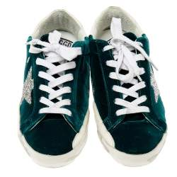 Golden Goose Green/White Velvet And Leather SuperStar Low Top Sneakers Size 38