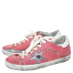 Golden Goose Pink Canvas and Leather Distressed Low Top Sneakers Size 37