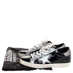 Golden Goose Black Patent And Grey Leather Hi Star Sneakers Size 35