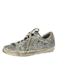 Golden Goose Silver Glitter and Suede Superstar Lace Up Sneakers Size 38
