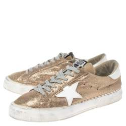 Golden Goose Gold/White Glitter And Leather Superstar Low Top Sneakers Size 40