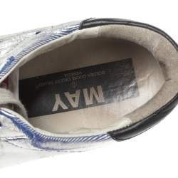 Golden Goose Silver/White Leather Star Applique Low Top Sneakers Size 39