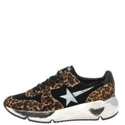Golden Goose Black/Brown Leopard Print Calfhair and Neoprene Running Sneakers Size 40