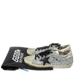 Golden Goose Silver Glitter And Suede Superstar Low Top Sneakers Size 39