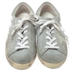 Golden Goose Grey Suede Leather Superstar Low Top  Sneakers Size 36