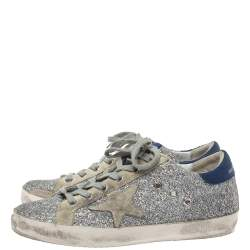 Golden Goose Silver Suede And Glitter Super-Star Sneakers Size 38