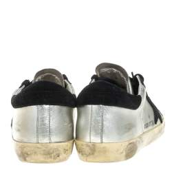 Golden Goose Silver/Black Leather and Suede Superstar Lace Up Sneakers Size 36