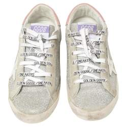 Golden Goose Silver/White Glitter And Suede SuperStar Sneakers Size 41