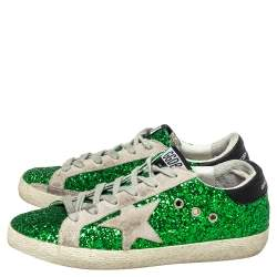 Golden Goose Green Glitter And Suede Superstar Low Top Sneakers Size 37