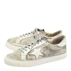 Golden Goose White/Grey Distressed Suede And Pony Hair May Lace Up Sneakers Size 40