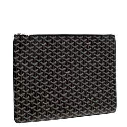 Goyard Black Goyardine Coated Canvas Senat GM Clutch