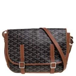 Goyard Brown Goyardine Coated Canvas and Leather Belvedere MM Saddle Bag