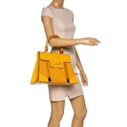 Goyard Yellow Coated Canvas and Leather MM Saigon Top Handle Bag