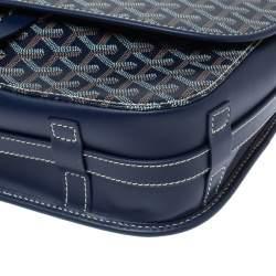 Goyard Navy Blue Goyardine Coated Canvas and Leather Belvedere MM Saddle Bag