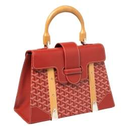 Goyard Red Goyardine Coated Canvas and Leather Saigon Top Handle Bag