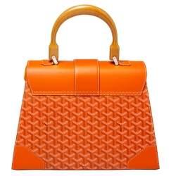 Goyard Orange Goyardine Coated Canvas and Leather Saigon MM Top Handle Bag