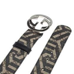 حزام غوتشي إبزيم جي متشابك كانفاس سوبريم كاليدو جي جي أسود/ بيج 85 سم