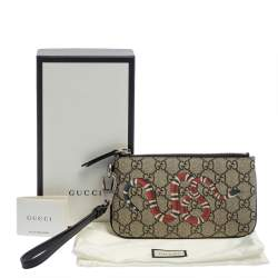 Gucci Beige GG Supreme Canvas Kingsnake Print iPhone Pouch