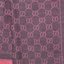 Gucci Pink & Grey GG Jacquard Wool Scarf