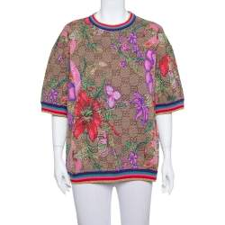 Gucci Brown Floral Logo Monogram Lurex Knit Short Sleeve Sweater L