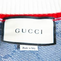 Gucci Blue Wool Logo Intarsia Knit  Button Front Cardigan XXS