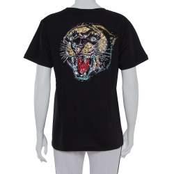 Gucci Black Cotton Sequin Embellished Tiger & Logo Detail Oversized T-shirt XS