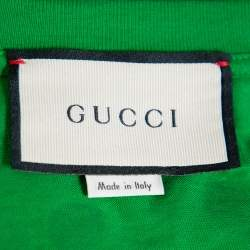 Gucci Green Glitter Polka Dot & Logo Printed Cotton Crewneck T-shirt XS