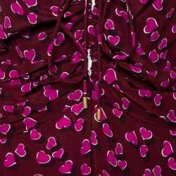 Gucci Burgundy Heartbeat Print Silk Ruched Detail Maxi Dress M